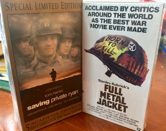 MOVIES Full Metal Jacket Classic VIETNAM and Saving Private Ryan  VHS Taped Mint New Never Opened Get Both