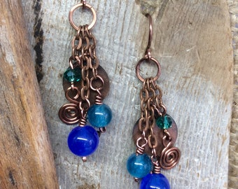 Boho Sapphire Jade Dangle Earrings Apatite Blue Green Antique Copper Wirework Handmade Earwires   1.99 Shipping USA
