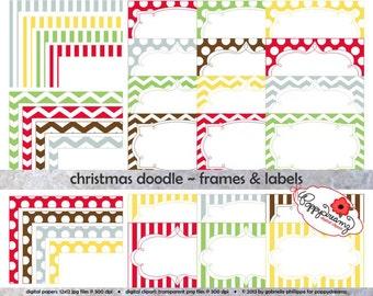Christmas Doodle Frames & Labels: Clip Art Pack Card Making Digital Frames Page Borders Chevron Dots Stripes