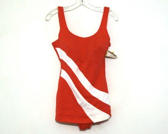 Vintage bathing suit swim 60s 70s orange striped