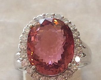 18K white gold halo diamond and tourmaline ring