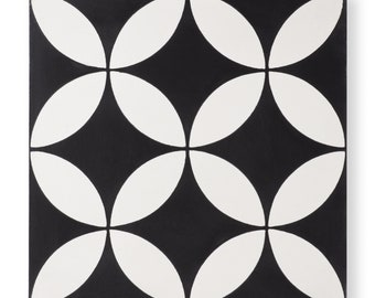 Cement Tile - Pattern: Circulos Black