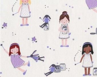 218202 white Michael Miller fabric girl children Sprinkle Little Stars