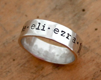 Mothers ring - Personalized sterling silver band with family names - gift for her - mom - grandmother - mothers day - birthday present - kid