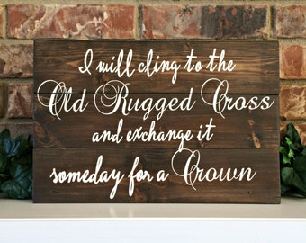 Old Rugged Cross Wood Sign Pallet Style Hymnal Sign
