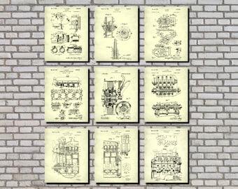 Mechanic Gifts, Engineering Art, Set 9 Engine Patent Prints, Garage Signs, Garage Decor, Engineer Gifts