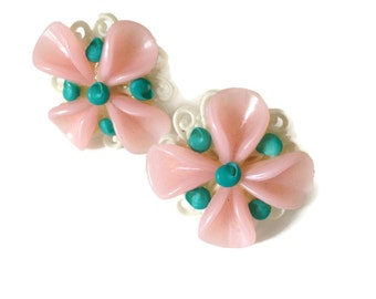 Vintage Celluloid Earrings Screw Back 1950's Pink and Turquoise Flower Earrings Costume Jewelry Celluloid Jewelry 50's Earrings Non Pierced