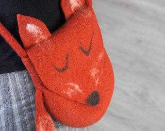 Felt Fox handbag, gift for Her, rust wool fox handbag, felt wool purse, messenger shoulder bag, cross body Fox hobo bag, felted handbag