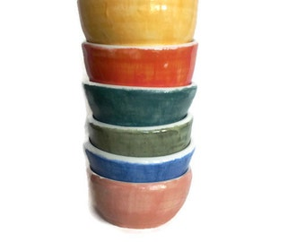 Set of six clay pottery bowls, hand thrown bowl, hand painted bowls, cereal bowls, dessert bowls, colorful cute pottery set, ice cream bowls