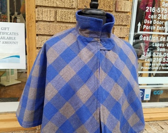 Blue and Grey Plaid Capelet