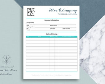 Text Only Order Form Line Sheet TEMPLATE for Wholesale Orders | Word Template | Printable 8.5 x 11 Form | Editable Form in Word