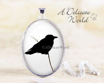 Crow Necklace, Gothic Jewellery Pendant, Black Bird Silhouette, Gothic Gifts, Crow Jewelry, Raven Necklace Pendant, Black and White Necklace
