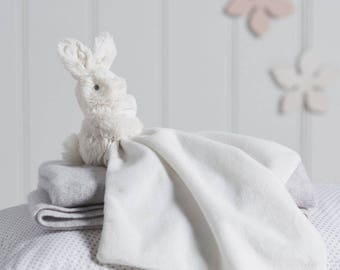 Personalised Bonnie Bunny Baby Comforter White / Baby Shower / First toy / Personalised blanket / Little one gift / Baby Gift