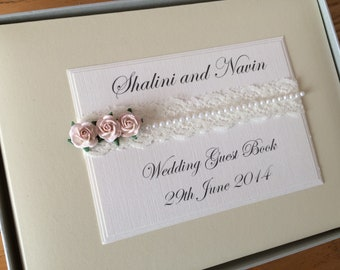 Personalised Wedding Guest Book.  Vintage Lace and Pearls and Rose Design