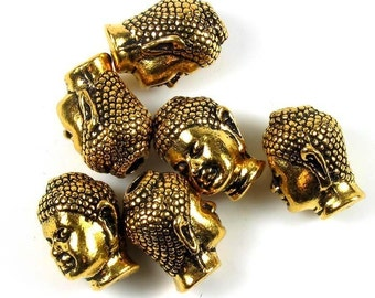 6 Tierracast Gold Buddha Head Beads