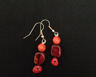 Red and Orange Beaded Dangle Earring