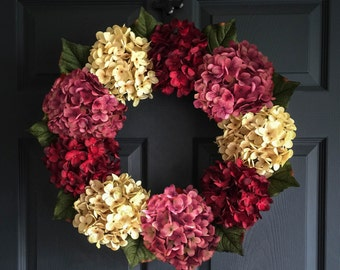 Wreath | Beautiful Hydrangea Wreath | Outdoor Wreaths | Front Door Wreaths | Door Wreath | Housewarming Gift