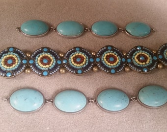 Combo Faux Turquoise Connectors and Beaded Sliders