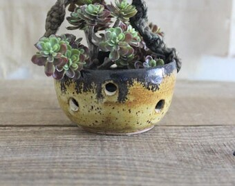 Vintage Small Studio Pottery Hanging Planter
