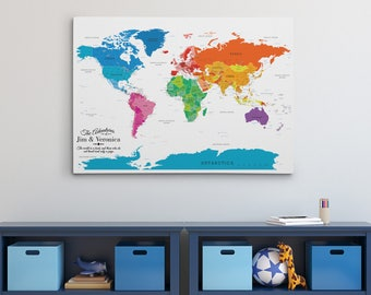 Personalized travel pin maps to track lifes by pushpintravelmaps gallery wrapped personalized canvas map colorful world map with pins 24 x 36 gumiabroncs Choice Image