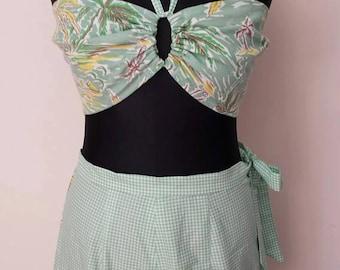 "1940s Vintage Style Two Piece Tropical Scenery Print Feedsack High Waisted Bikini -  Bust 38"" Size 14 L"