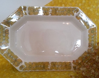 Yellow Bouquet Independence Ironstone Platter Octagonal Excellent