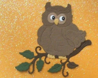 Hooty Owl on Branch  - Bazzill - Set of 3