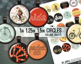 """Bike Ride Bicycle Digital Collage Sheets 1"""" 1.25"""" and 1.5 Inch Circles Printable Download for Pendant Magnet Bottle Cap Necklaces Crafts JPG"""
