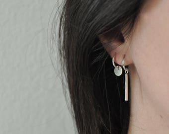Small silver hoops sleeper hoops sterling silver earrings minimal earrings mismatched earrings tiny silver hoops - amejewels