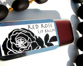 red rose lip balm- red tint natural organic lip balm with alkanet, rose geranium and bulgarian rose essential oil