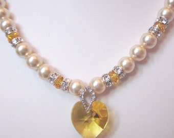 Swarovski Pearl and Crystal Necklace - Swarovski Pearls and Golden Yellow Crystal Heart - Weddings, Brides, Bridesmaids, Proms, SRAJD
