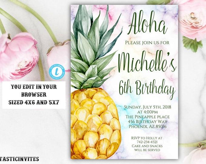 Pineapple Birthday Invitation Template, Pineapple, Instant Download, Editable, Pineapple Template, Summer Birthday Invitation, Fruit Invite