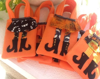 TRICK OR TREAT Halloween Felt Party favor Witch Boots Set of 10