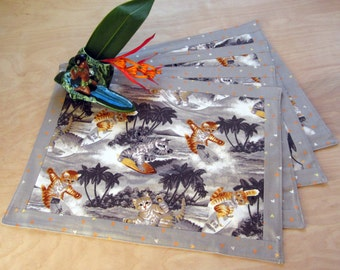 Retro Mid Century Style Hawaiian Surf Kittens Place Mats, Hand Made by Tiki Queen