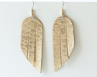 Leather Earrings / Mini Fringe / Gold Lava
