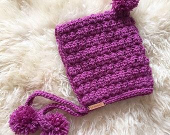 Crochet Pixie hood - size 1-3yrs