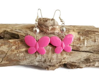Small pink butterfly beads and Silver earrings