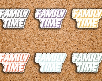 20 Family Time Outlined BUBBLE Word Header Sticker for 2017 Inkwell Press IWP-S45