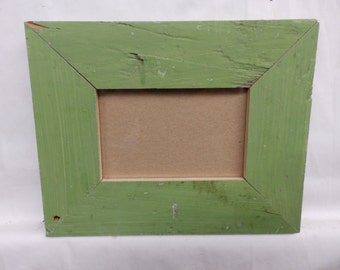 SHABBY ARCHITECTURAL Chic Salvaged 4 X 6 Wood Green Picture Frame Vintage 2456-15