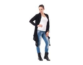 Black knitted cardigan, Asymmetrical women cardigan without buttons, Hot Black cardigan, Oversized women top, New knit ladies cardigan