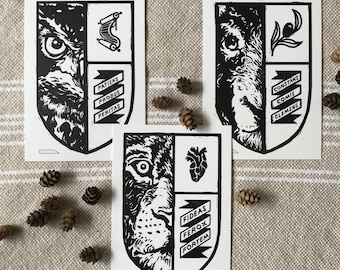 Linocut Digital Print Set / Latin Typography Print / Inspirational Art / Medieval Art Print