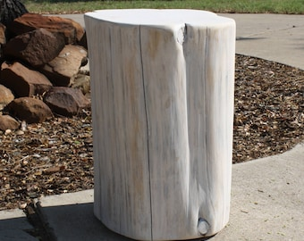 Tree Stump Side Table, Seat, Stool, SUNBLEACHED, S, M, L available, made to order, rustic home decor, nursery, business or office decor