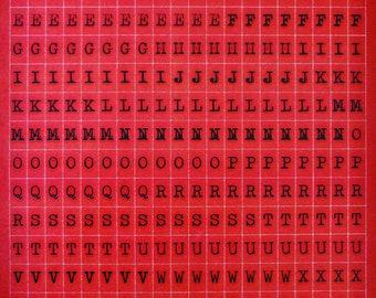 Adhesive stickers - ALPHABET red 11mm - x 280pcs