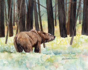 "Grizzly Bear in Yellowstone, Original Painting by Wanda""s Watercolors"