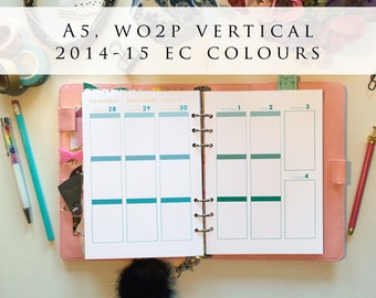 A5 planner inserts - week on 2 pages (WO2P), vertical, Mon-Sun, 2014/15 EC colours, pre-punched (A5.1)