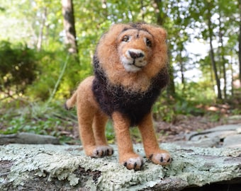 Maliki the Lion, needle felted animal art sculpture