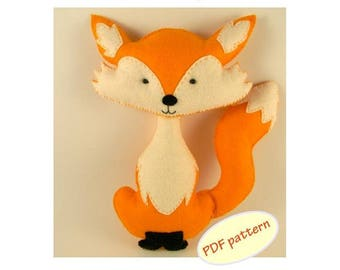 Fox Plushie Pattern Fox easy to sew felt PDF pattern Felt fox pattern Felt Hand Sewing Fox softie Plush Toy Pattern Instant Download PDF