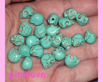 Turquoise Skull Beads Howlite Beads 12 x 8mm Day of the Dead Dia de los muertos Bead