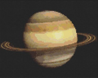 Saturn Cross Stitch Pattern PDF, Space Cross Stitch, Planet Cross Stitch Chart, Planetary Series, Embroidery Chart