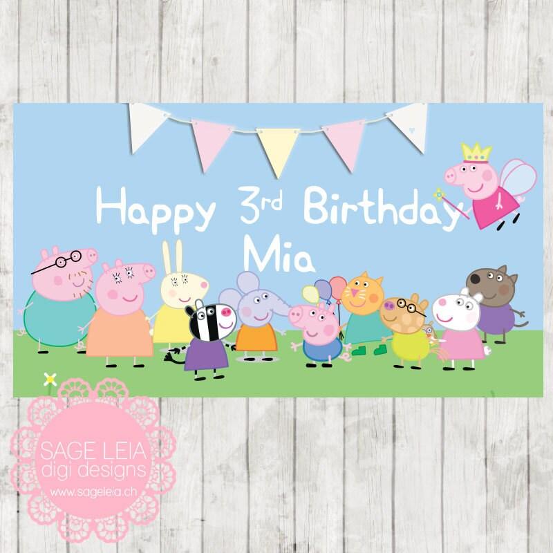 Custom Printable Peppa Pig Girl Themed Pastel Birthday